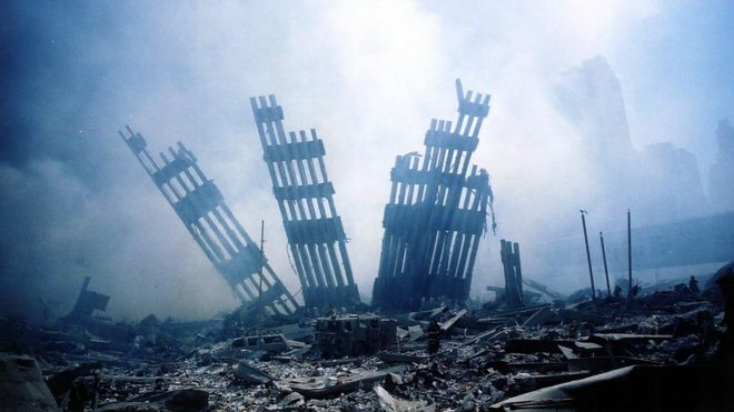 Las ruinas de las Torres Gemelas en Nueva York, después del ataque del 11 de septiembre de 2011.