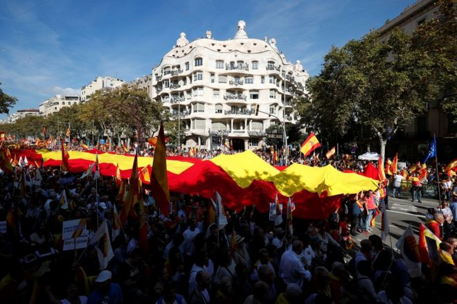 Supporters of Spanish unity attend a demonstration to call for co-existence in Catalonia and an end to separatism, in Barcelona, Spain, October 27, 2019