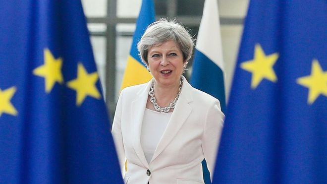 Theresa May at European Council June 2017
