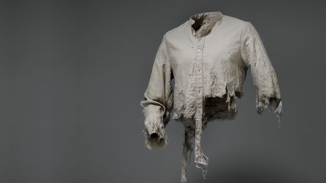 A torn shirt features in the 'Victim Fashion' campaign