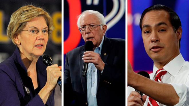 Elizabeth Warren (L), Bernie Sanders (C) and Julian Castro (R) are all contending for the Democratic presidential nomination