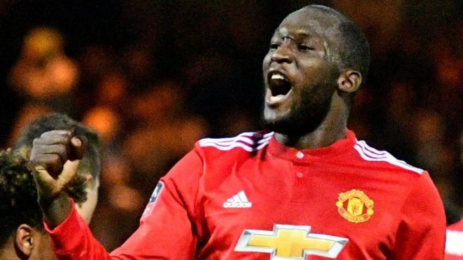 Manchester United striker Romelu Lukaku celebrates