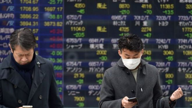 Japan's stock markets fall on virus fears.