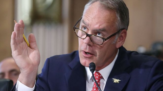 Ryan Zinke testifies during a Senate Energy and Natural Resources Committee hearing on Capitol Hill, on June 20, 2017