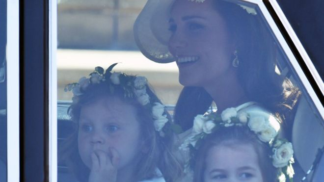 The Duchess of Cambridge arrives with Princess Charlotte