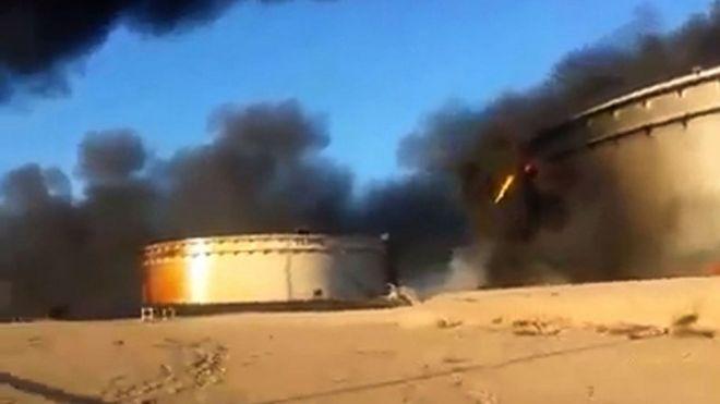 Libya oil storage tanks ablaze after assault by IS - BBC News