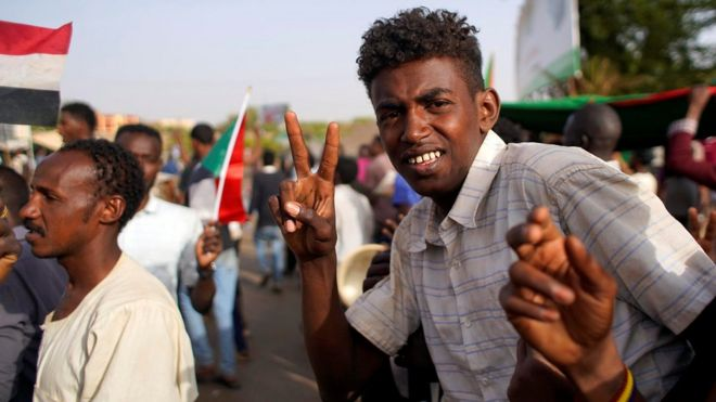Protesters in Khartoum, 12 April