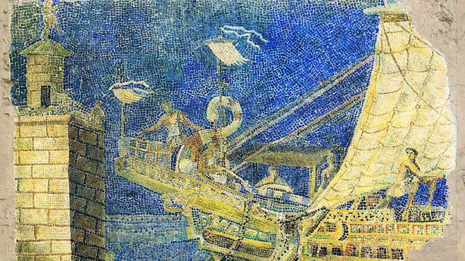 Mosaico romano que muestra el faro de Alejandría