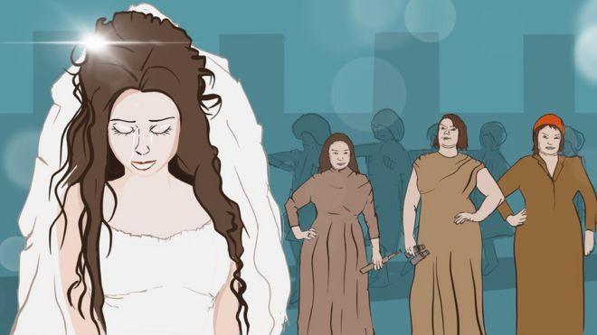 Una novia llora junto a varias mujeres