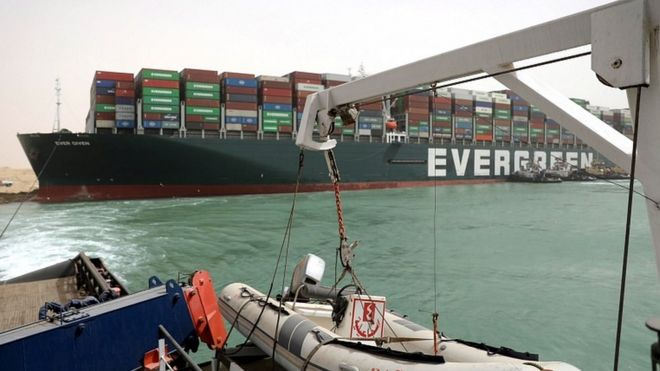 The Ever Given container ship in the Suez Canal, Egypt, 25 March 2021