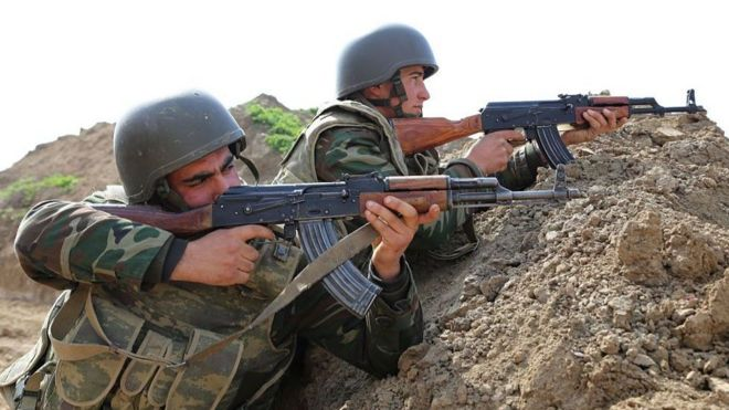 Азербайджанские военные в Тартарском районе, апрель 2020 года