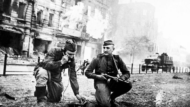 Soviet soldiers on the streets of Berlin 1945