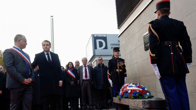French President Emmanuel Macron (2ndL) and Saint-Denis mayor Laurent Russier (L) at Stade de France wreath-laying, 13 Nov 17