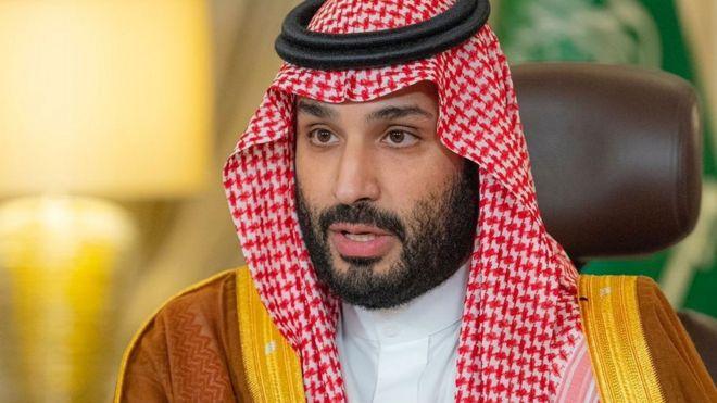 Saudi Crown Prince Mohammed bin Salman gives a speech from his office in Riyadh, Saudi Arabia (23 October 2021)