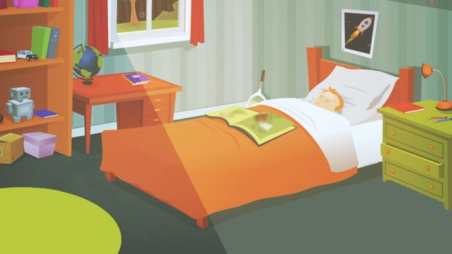 Teenage bedroom illustration