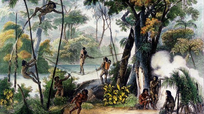 Pintura de Rugendas, em 1835, retratando uma comunidade indígena na selva