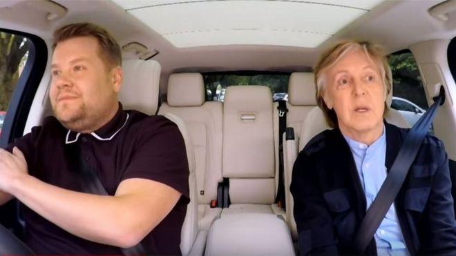 James Corden Tears Up At Paul Mccartney S Carpool Karaoke Bbc News