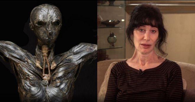 A escultura Adão (à esquerda) e a artista Gillian Gensen (direita)