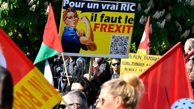 These May Day protesters in Bordeaux want to leave the EU on 1 MAy 2019