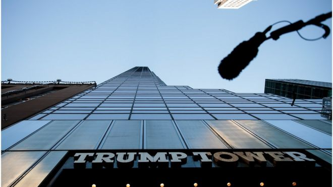A boom microphone hangs overhead during a protest against Republican presidential candidate Donald Trump for his treatment of women, in front of Trump Tower on October 17, 2016 in New York City