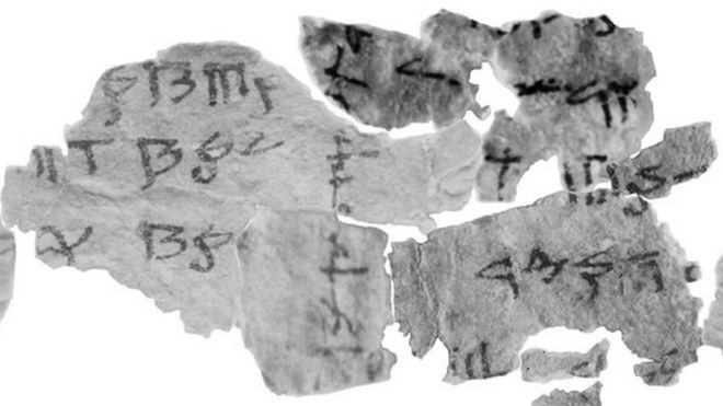 Close-up of fragment of Dead Sea Scroll