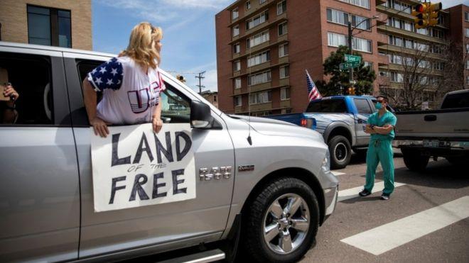 Protests against virus shutdowns in Denver on 19, April