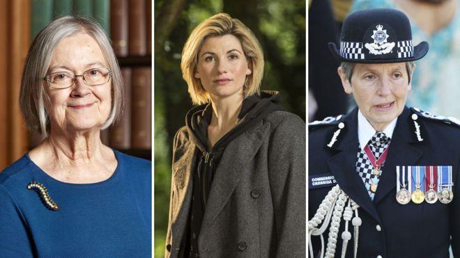 Слева направо: баронесса Хейл, Джоди Уиттакер, Крессида Дик