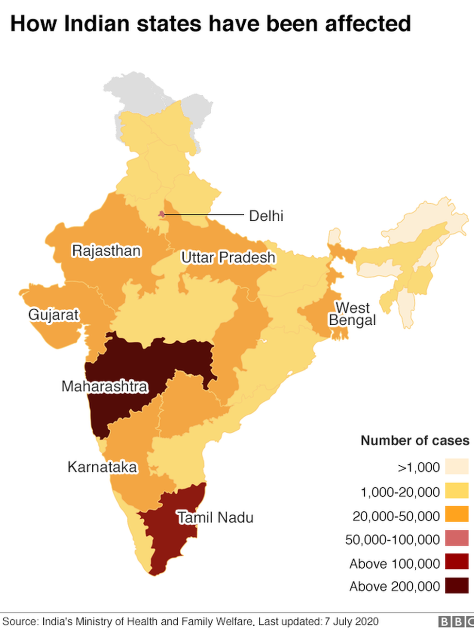 Map showing the spread of confirmed Covid-19 cases across India.