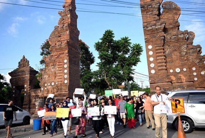 Protesta en la isla de Bali