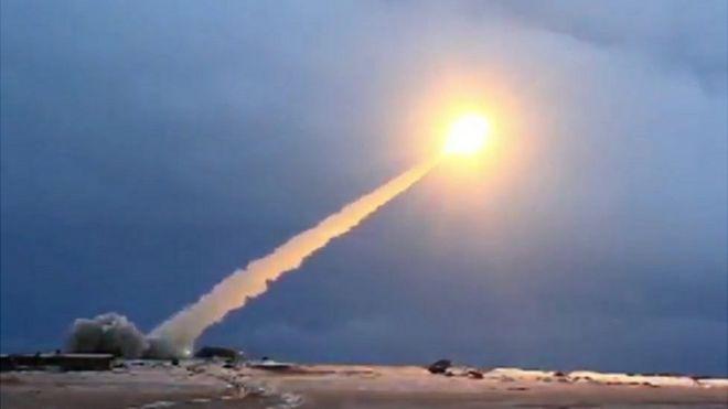 اختبار إطلاق صاروخ من نوع بوريفيستنيك من فيديو نشرته وزارة الدفاع الروسية