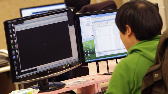 A researcher inspecting for computer viruses at Hauri Inc. the IT security software vendor on March 21, 2013 in Seoul, South Korea.