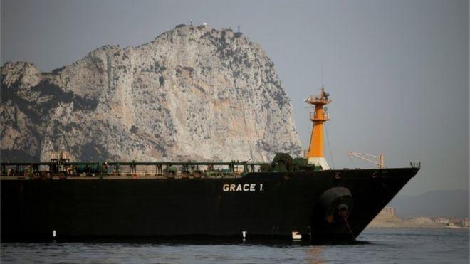 El Grace 1 frente a las costas de Gibraltar