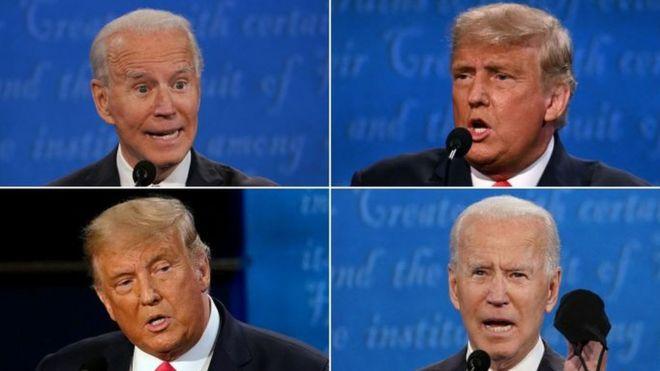 Joe Biden y Donald Trump en el debate de Tenessee.