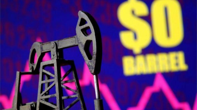 Imagem com uma miniatura de equipamento de retirada de petróleo da terra. Ao fundo, valor de US$ 0