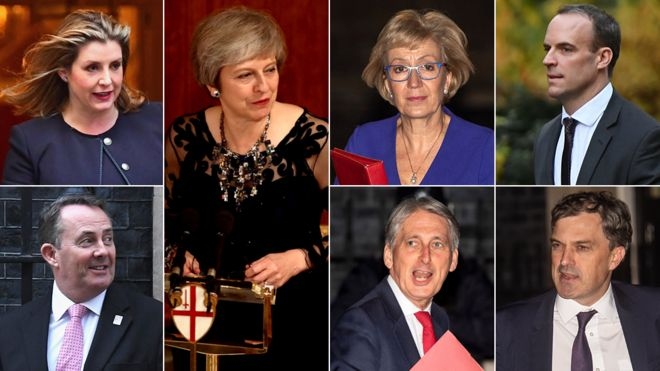 Composite image featuring, clockwise from top left: Penny Mordaunt, Theresa May, Andrea Leadsom, Dominic Raab, Julian Smith, Philip Hammond and Liam Fox