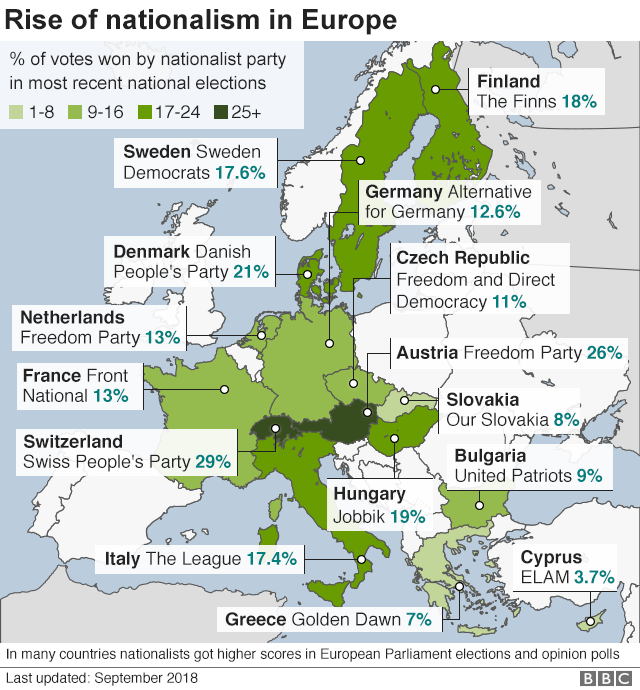 Map showing rise of populist and nationalist parties in Europe