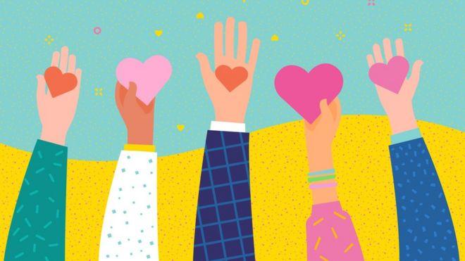 Uma ilustração de mãos segurando corações