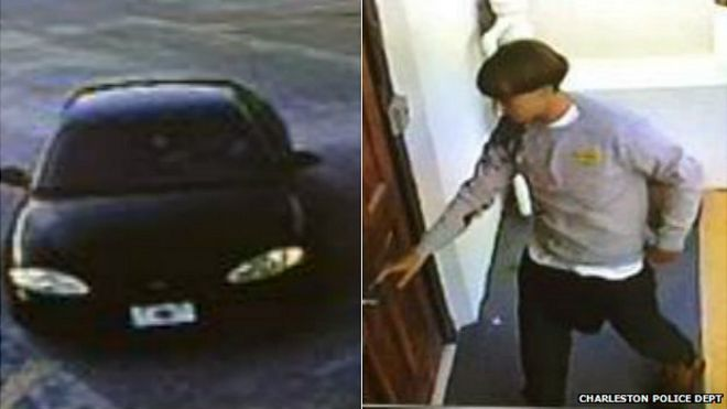 Images of suspect and vehicle released by Charleston police. 18 June 2015