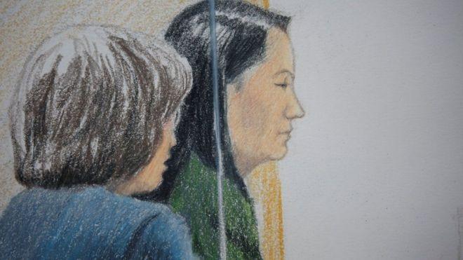 Hình phác họa trong phiên tòa Tối cao của British Columbia đối với bà Mạnh Vãn Chu