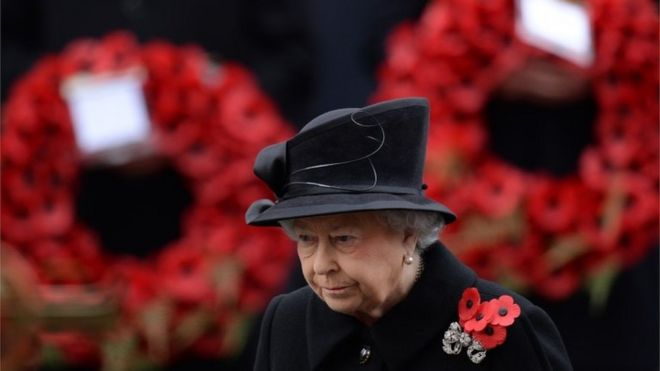The Queen at 2014's remembrance service at the Cenotaph, central London