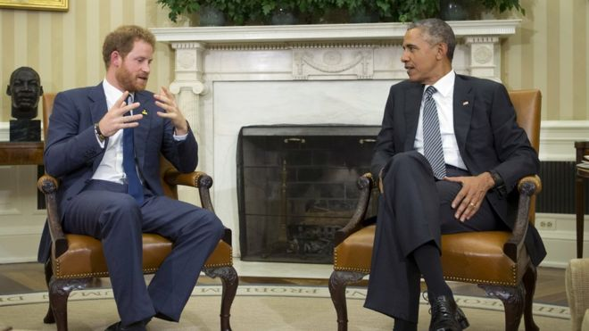 Obama Oval Office Address Not So Much >> Prince Harry Meets Barack Obama To Promote Invictus Games Bbc News