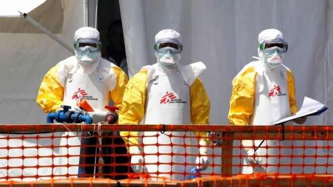 Ebola workers in DR Congo