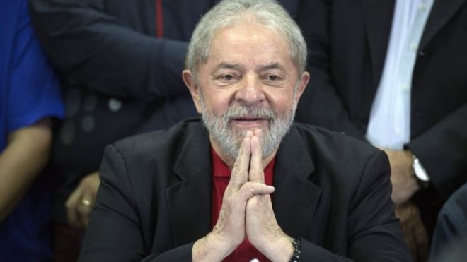 Brazilian former President Luiz Inacio Lula da Silva holds a press conference at the Workers Party national direction facilities, in Sao Paulo, Brazil, 13 July 2017