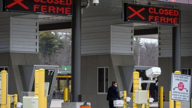 美加边境的许多检查站都已关闭。