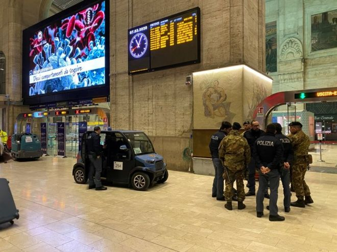 Military and police in Milan prepare to lock down the city