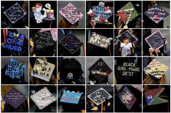 Sinh viên tốt nghiệp tại Trường Medgar Evers ở Quận Brooklyn ở New York City có các kiểu mũ khác nhau trong lễ ra trường.