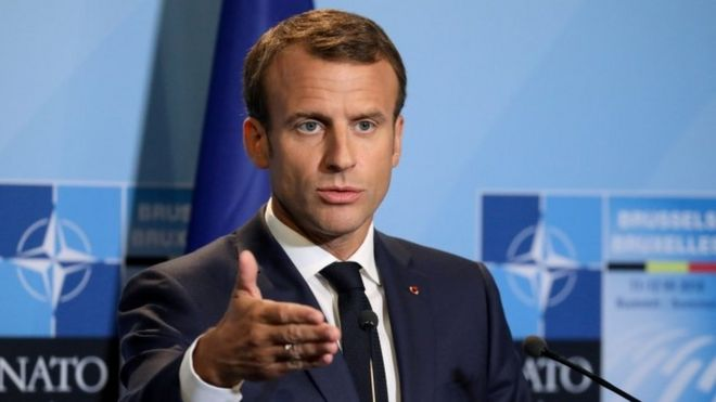 French President Emmanuel Macron at a Nato summit in Belgium, 2018