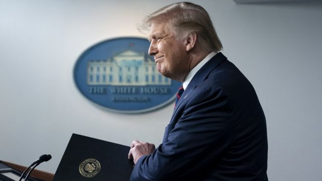 US President Donald J. Trump arrives to a news conference in the James S. Brady Press Briefing Room at the White House in Washington, DC, USA, on 23 August 2020