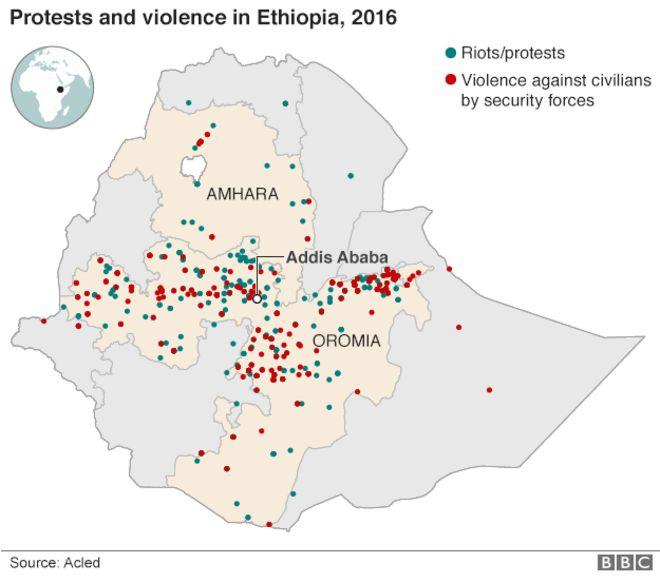 Карта протестов и насилия в Эфиопии в 2016 году