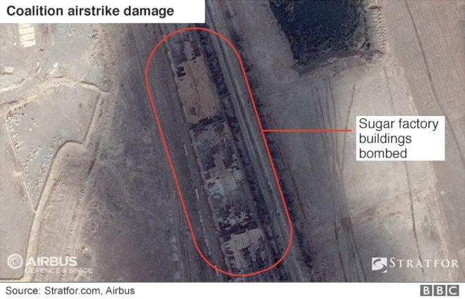Musul'un şeker fabrikasına zarar veren uydu görüntüsü